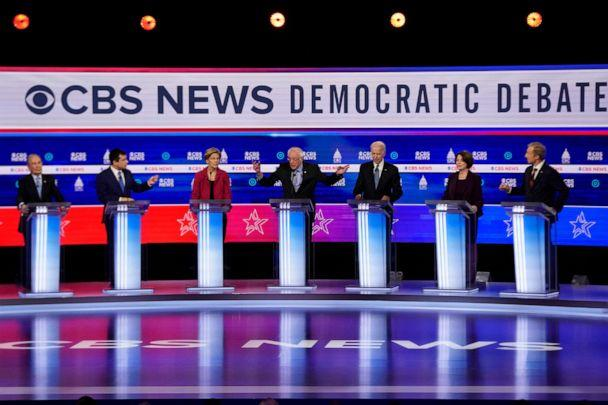 PHOTO: Democratic presidential hopefuls participate in the tenth Democratic primary debate at the Gaillard Center in Charleston, South Carolina, Feb. 25, 2020. (Jonathan Ernst/Reuters)