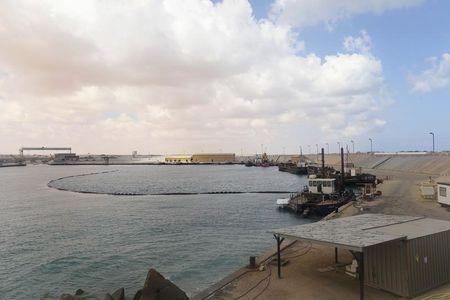 A view of the anchorage at the Es Sider export terminal in Ras Lanuf, west of Benghazi