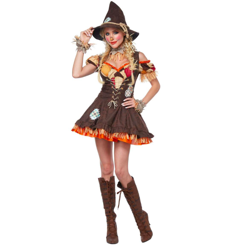 This seasonal costume comes with a dress, hat, collar, pettiskirt and wrist cuffs. (Photo: Spirit Halloween)