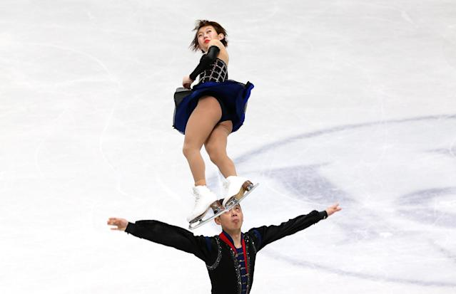 Figure Skating - World Figure Skating Championships - The Mediolanum Forum, Milan, Italy - March 21, 2018 China's Peng Cheng and Jin Yang during the Pairs Short Programme REUTERS/Alessandro Bianchi