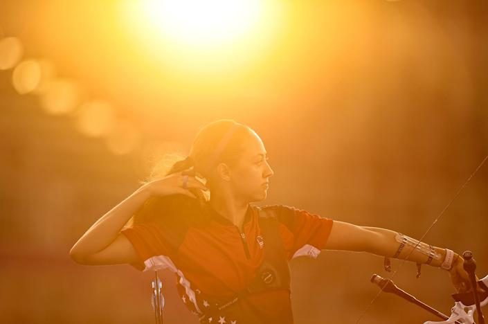 <p>Team U.S.A.'s Jennifer Mucino-Fernandez competes in the archery women's individual 1/32 eliminations event on July 28.</p>