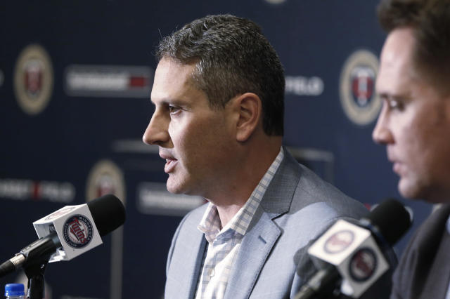 Minnesota Twins chief baseball officer Derek Falvey, right, listens as general manager Thad Levine answers a question during a news conference Tuesday, Oct.2, 2018 in Minneapolis announcing the firing of Twins manager Paul Molitor, one season after he won the American League Manager of the Year award. In four seasons under Molitor, the Twins went 305-343 with one appearance in the playoffs in 2017. They were 78-84 this year, long out of postseason contention after a series of early setbacks to several key players. (AP Photo/Jim Mone)