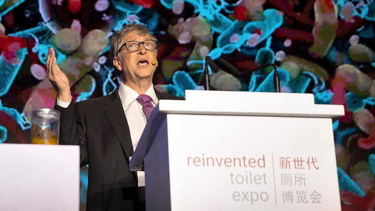 Mandatory Credit: Photo by Mark Schiefelbein/AP/REX/Shutterstock (9964639m)Bill Gates, former Microsoft CEO and co-founder of the Bill and Melinda Gates Foundation, speaks as a jar of human feces sits on a podium at the Reinvented Toilet Expo in Beijing, .