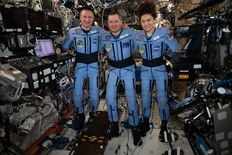 NASA astronauts Jessica Meir and Andrew Morgan and Soyuz Commander Oleg Skripochka of the Russian space agency Roscosmos on the International Space Station: Nasa