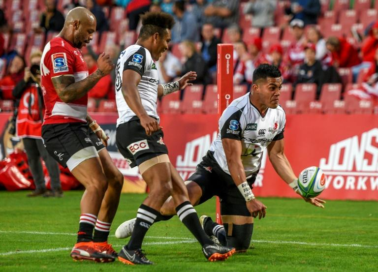 Hosea Saumaki of the Sunwolves celebrates his try against the Lions in Johannesburg