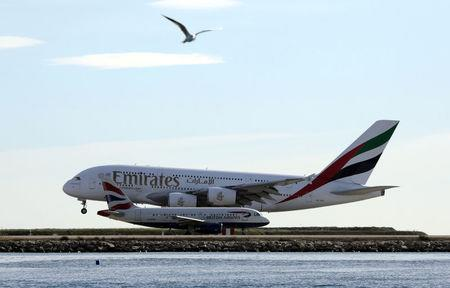 An Emirates Airbus A380 airliner prepares to land at Nice international airport