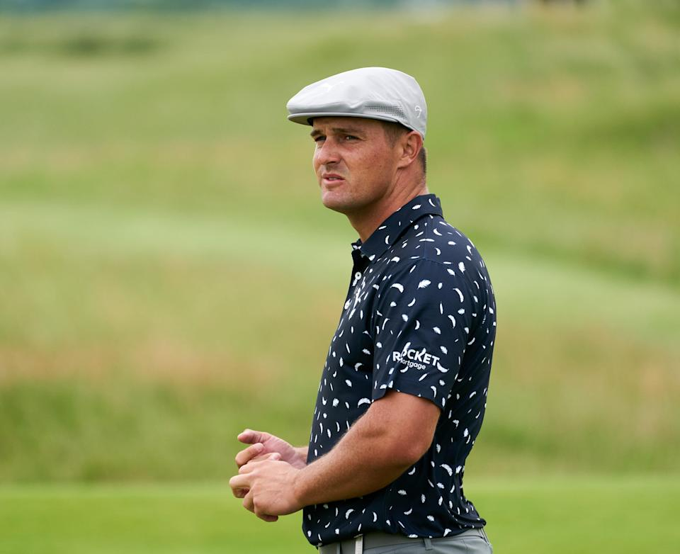 Bryson DeChambeau looks on from the 13th green during the first round of the Open Championship earlier this month.