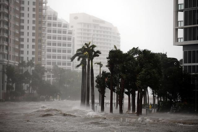 <p><strong>Miami</strong><br>Water rises up to a sidewalk by the Miami river as Hurricane Irma arrives at south Florida, in downtown Miami, Fla, Sept. 10, 2017. (Photo: Carlos Barria/Reuters) </p>