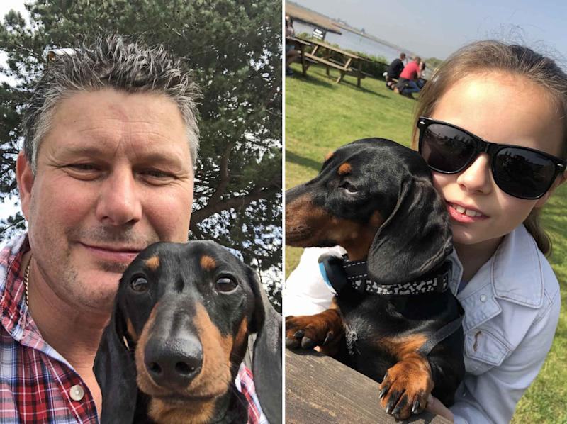 Martin Snell, left, and his daughter Hollie with Dukey (Pictures: Caters)