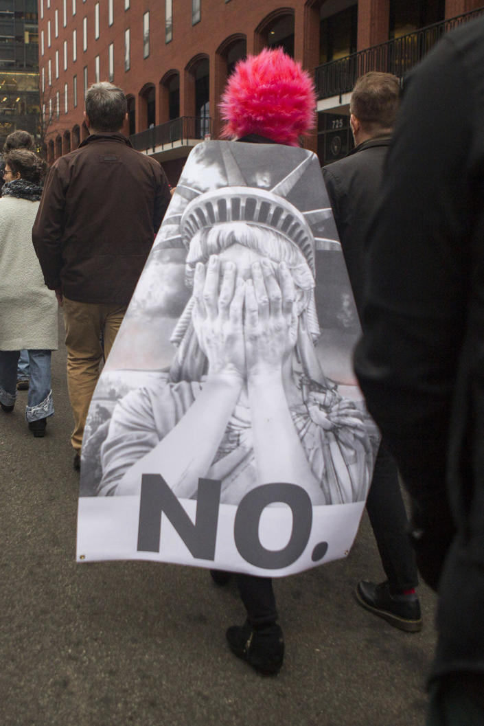 <p>People protest at the Women's March in Washington, Jan. 21, 2017.(Photo: Jessica Kourkounis/Getty Images) </p>