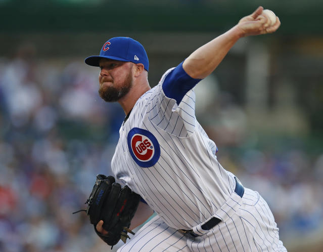 Chicago Cubs' Jon Lester pitches against the Atlanta Braves during the first inning of a baseball game Monday, June 24, 2019, in Chicago. (AP Photo/Jim Young)