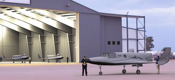 The spaceflight company XCOR Aerospace has begun work on a hangar in Midland, Texas (seen here in an artist's view) for its private Lynx space plane. The two-person spacecraft is being developed for space tourism and science launches to suborbi