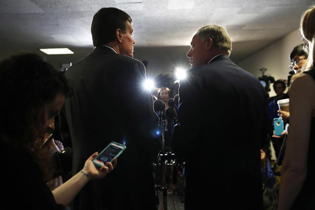 <p>Senate Intelligence Committee Chairman Sen. Richard Burr, R-N.C., right, and the committee's vice chairman Sen. Mark Warner, D-Va., meet with reporters on Capitol Hill in Washington, May 11, 2017, following a closed-door meeting with Deputy Attorney General Rod Rosenstein during the committee's hearing. (Photo: Jacquelyn Martin/AP) </p>