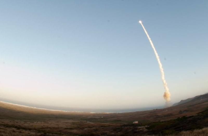 An image provided by Vandenberg Air Force Base shows an unarmed Minuteman III intercontinental ballistic missile being launched during an operational test Wednesday May 22, 2013, from Launch Facility-4 on Vandenberg AFB, Calif. The U.S. Air Force launched this unarmed intercontinental ballistic missile from a California base, a month after the test flight was postponed because of tensions with North Korea. (AP Photo/ Vandenberg Air Force Base)