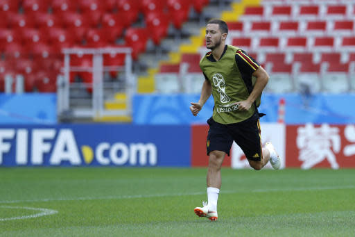 Belgium's Eden Hazard warms up during Belgium's official training ahead of the group G match between Belgium and Tunisia at the 2018 soccer World Cup in the Spartak Stadium in Moscow, Russia, Friday, June 22, 2018. (AP Photo/Hassan Ammar)