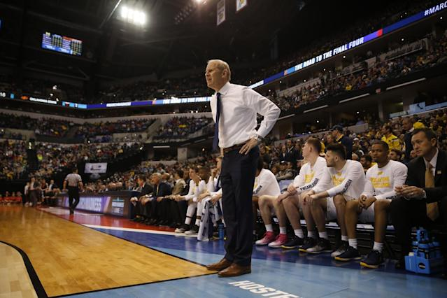 John Beilein and Michigan are heading back to the Sweet 16. (AP Photo/Jeff Roberson)