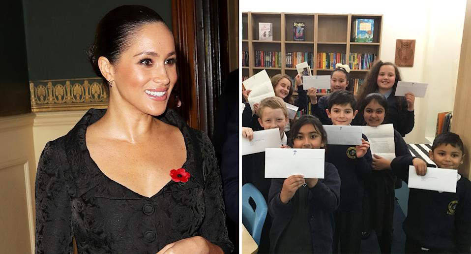 Meghan Markle excited pupils with a series of personalised letters. [Photo: Getty/Twitter]