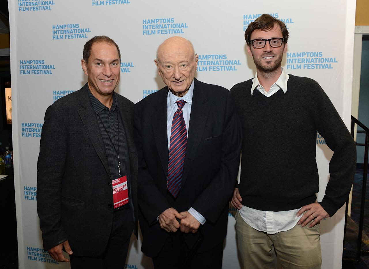 "EAST HAMPTON, NY - OCTOBER 08:  Stuart Suna, Ed Koch and David Nugent attend the ""Koch"" screening during the 20th Hamptons International Film Festival at United Artists Regal Cinema on October 8, 2012 in East Hampton, New York.  (Photo by Jason Kempin/Getty Images)"