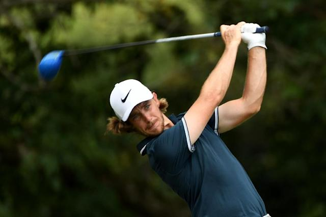 Tommy Fleetwood of England plays a shot during the 2017 PGA Championship at Quail Hollow Club in Charlotte, North Carolina, in August (AFP Photo/ROSS KINNAIRD)