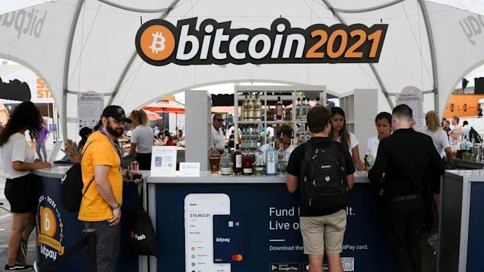People at the Bitcoin 2021 crypto-currency conference in Miami earlier this month