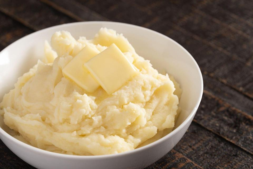 "<p>Snacks were tight in the '40s due to food rationing for World War II, so even though instant mashed potatoes are usually considered a side, this <a href=""https://tedium.co/2017/11/21/mashed-potato-history/"" rel=""nofollow noopener"" target=""_blank"" data-ylk=""slk:McCormick & Company product"" class=""link rapid-noclick-resp"">McCormick & Company product</a> became a common snack, too.</p>"