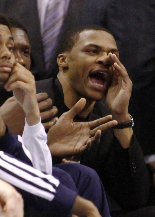 Oklahoma City Thunder guard Russell Westbrook reacts to a call against the Thunder during the second quarter of an NBA basketball game against the Golden State Warriors on Friday, Jan. 17, 2014, in Oklahoma City. (AP Photo/Alonzo Adams)