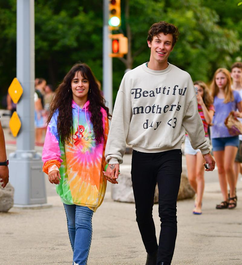 Camila Cabello and Shawn Mendes walking around New York City in August.