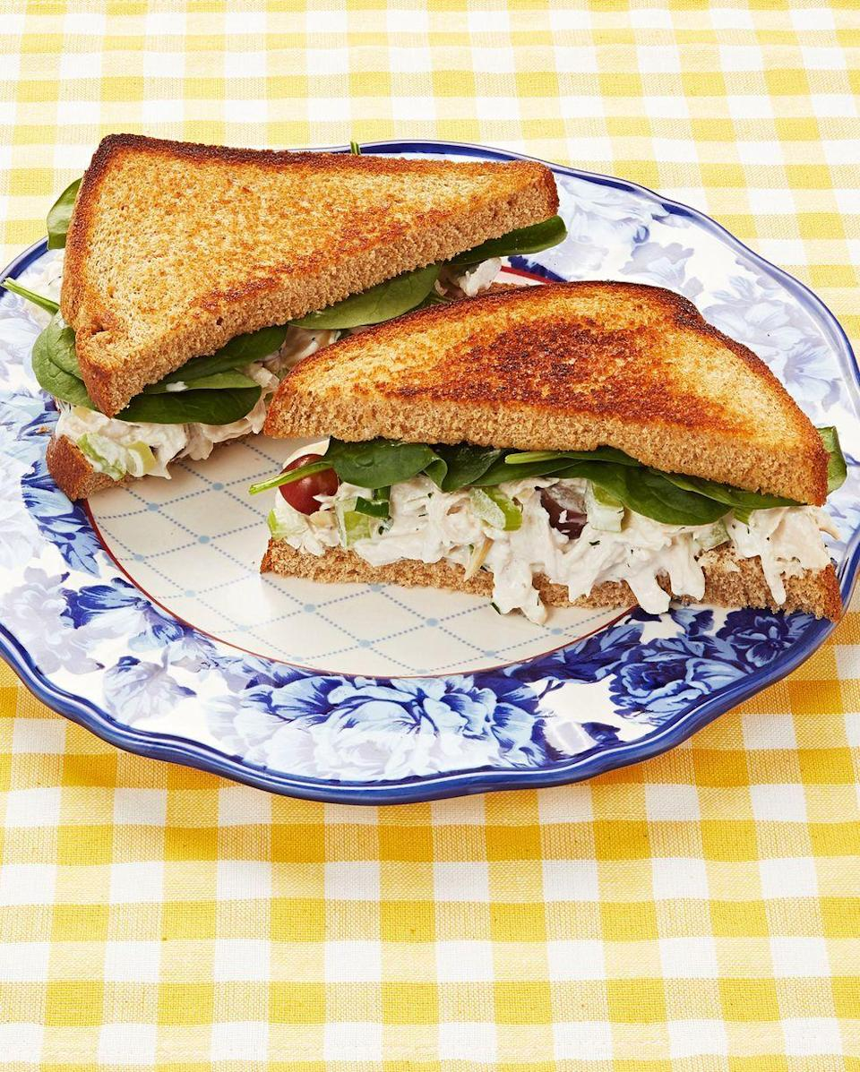 """<p>Enjoy a hearty lunch with a chicken salad sandwich. It's made exactly the way Ree likes it, with green onion, grapes, and celery.</p><p><a href=""""https://www.thepioneerwoman.com/food-cooking/recipes/a9697/chicken-salad-the-way-i-like-it/"""" rel=""""nofollow noopener"""" target=""""_blank"""" data-ylk=""""slk:Get the recipe."""" class=""""link rapid-noclick-resp""""><strong>Get the recipe.</strong></a></p>"""
