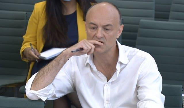 Dominic Cummings giving evidence to a joint inquiry of the Commons health and social care and science and technology committees