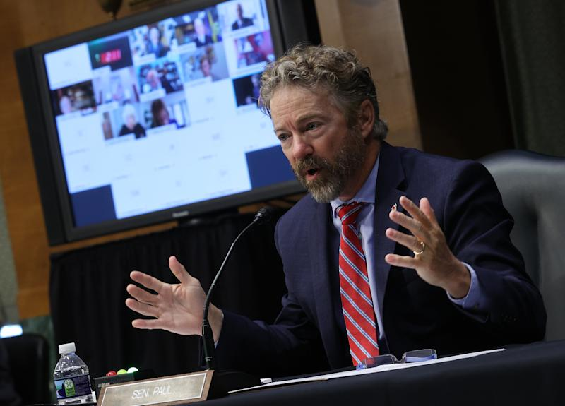 Sen. Rand Paul (R-KY) speaks during a Senate Health, Education, Labor and Pensions Committee hearing on Capitol Hill on May 12, 2020 in Washington, DC. (Win McNamee/Getty Images)