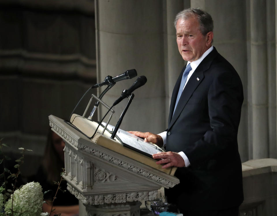 Former President George W. Bush speaks at a memorial service for Sen. John McCain, R-Ariz., at Washington National Cathedral in Washington, Saturday, Sept. 1, 2018. McCain died Aug. 25, from brain cancer at age 81. (AP Photo/Pablo Martinez Monsivais)