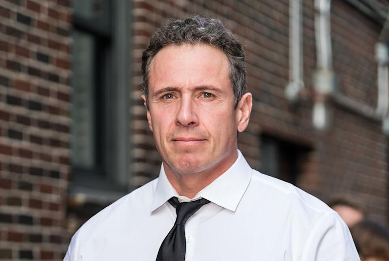 Pictured is CNN anchor Chris Cuomo in a white shirt and black tie.