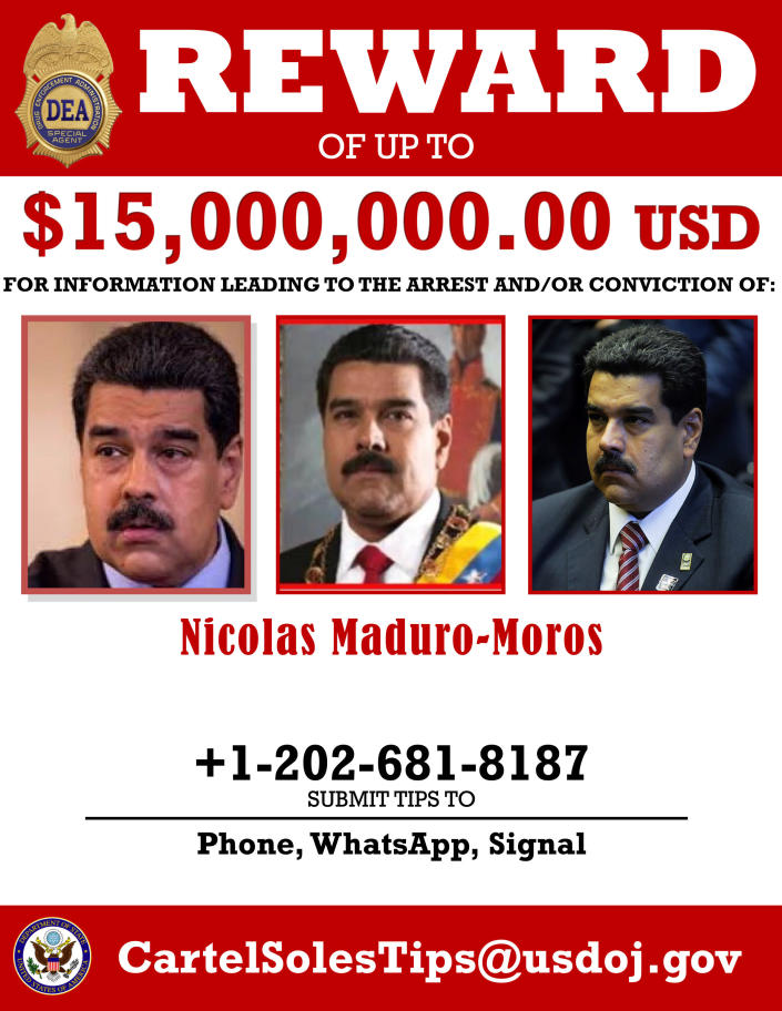 This image provided by the U.S. Department of Justice shows a reward poster for Nicolas Maduro that was released on Thursday, March 26, 2020. The U.S. Justice Department has indicted Venezuela's socialist leader Nicolás Maduro and several key aides on charges of narcoterrorism. (Department of Justice via AP)
