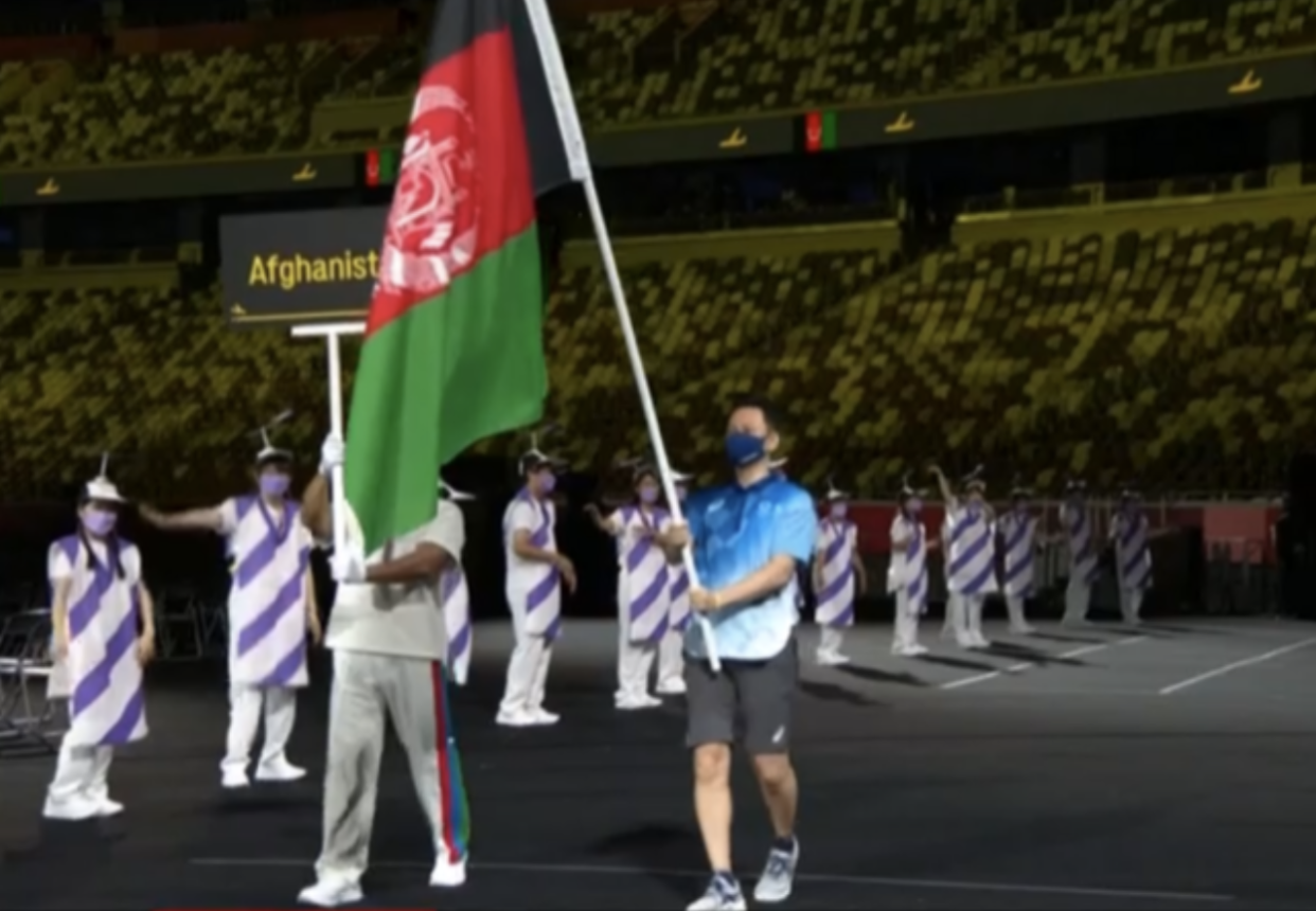 The flag of Afghanistan flying at the Paralympics opening ceremony (Channel 4)