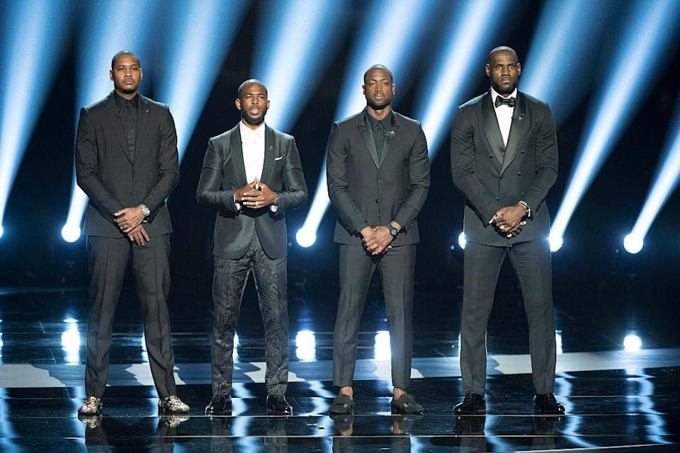 Carmelo Anthony, Chris Paul, Dwyane Wade and LeBron James address social activism at the ESPYs. (Getty Images)