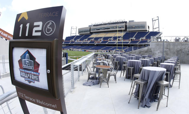 Tom Benson Hall of Fame Stadium before the Pro Football Hall of Fame NFL preseason game in Canton, Ohio, on Thursday, Aug. 3, 2017. (AP Photo/Ron Schwane)