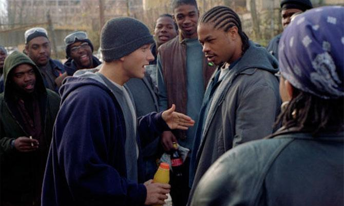 Eminem en una escena de 8 Millas (©Imagine Entertainment)