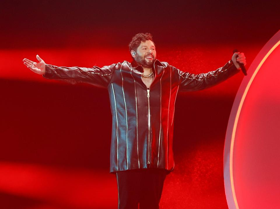 James Newman performing 'Embers' at the Eurovision Song Contest 2021 (EPA)