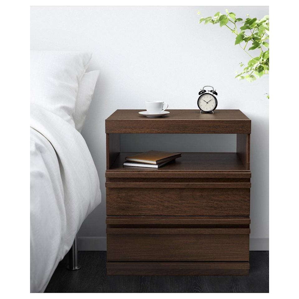 <p>Add an organic touch to your bedroom with the solid wood on the <span>Mathopen Nightstand</span> ($79).</p>