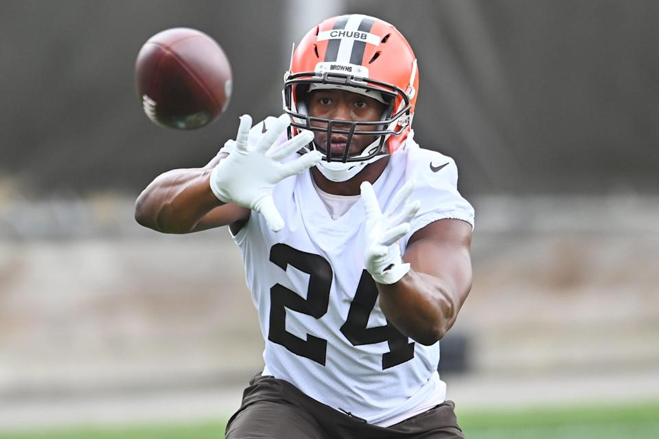 Cleveland Browns running back Nick Chubb catches a pass during training camp.