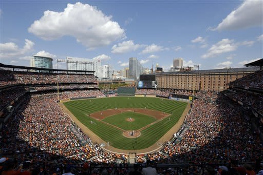 A general view of Oriole Park at Camden Yards during the third inning of a baseball game between the Baltimore Orioles and the Boston Red Sox in Baltimore, Sunday, Sept. 30, 2012. (AP Photo/Patrick Semansky)