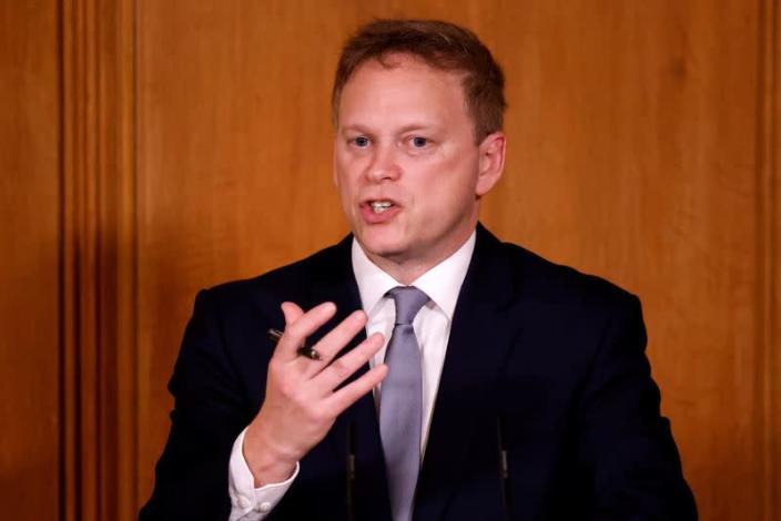 FILE PHOTO: Britain's Transport Secretary Grant Shapps speaks during a virtual news conference in London
