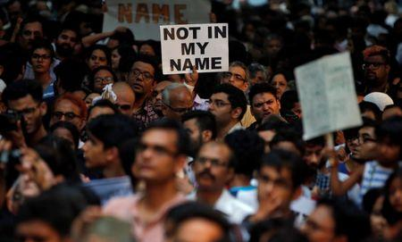 People protest against the recent cases of mob lynching of Muslims who were accused of possessing beef, in New Delhi, India, June 28, 2017. REUTERS/Cathal McNaughton