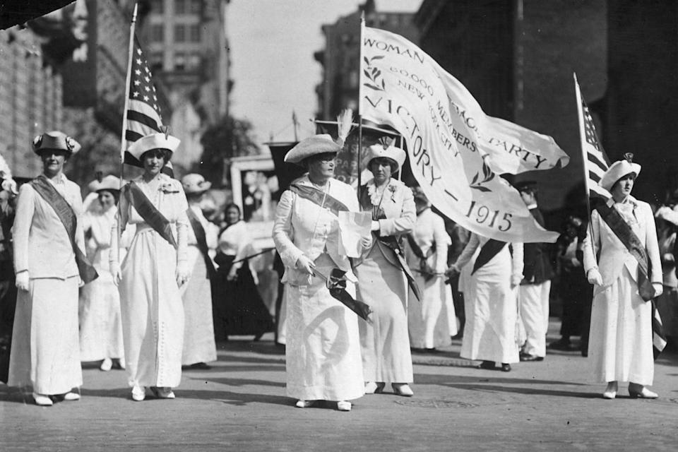 A group of women lead the Manhattan Delegation during a parade for the Woman Suffrage Party, a New York City-based political organization, through the city. It would be another five years before Congress ratified the 19th Amendment, finally granting women the right to vote.