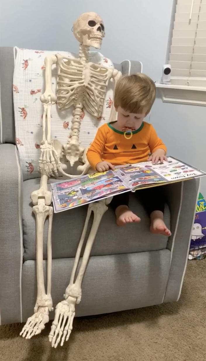 Benny the skeleton spends his nights propped up in a chair in 2-year-old Theo's bedroom. (abigailkbrady / Instagram)