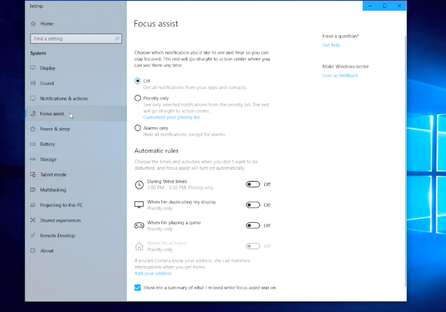 Windows 10's Focus Assist helps you cut down on distractions when you need to get some work done.