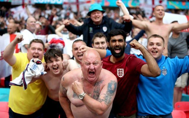England fans in the Wembley stands