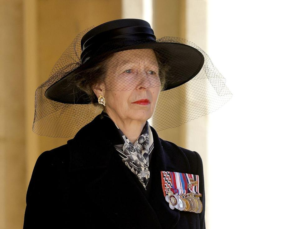 <p>Princess Anne looked stoic during the Ceremonial Procession of Prince Philip's funeral. </p>
