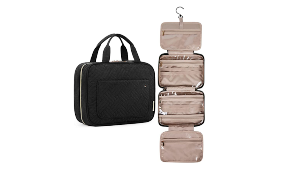 This quilted case unfolds to give you so much space to store your toiletries. (Photo: Amazon)