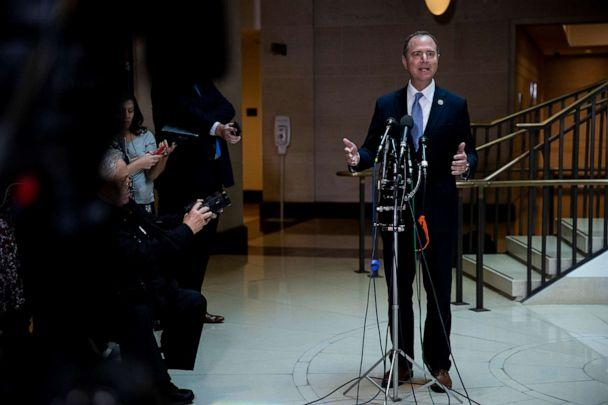 PHOTO: Rep. Adam Schiff (D-Calif.), chairman of the House Intelligence Committee, speaks to reporters after a closed-door briefing on a whistleblower complaint on Capitol Hill, Sept. 19, 2019. (Anna Moneymaker/The New York Times/Redux)